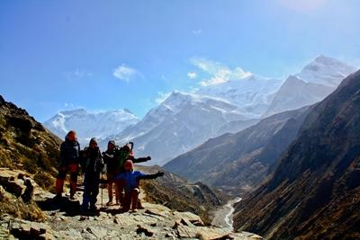 A group of Projects Abroad volunteers in Nepal hike up the Himalayan Mountains