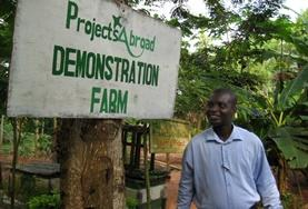 A volunteer arrives at his Agriculture & Farming placement on a small farm in the Akuapem Hills, Ghana.