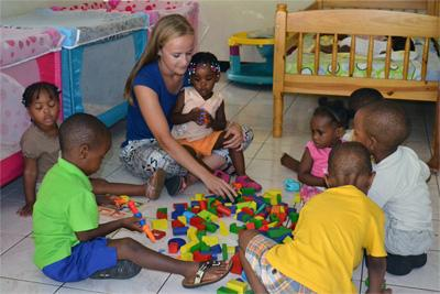 Projects Abroad Care volunteer from France at Ric's Day Care Centre placement in Jamaica