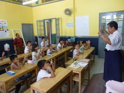 Schoolchildren during class in Myanmar