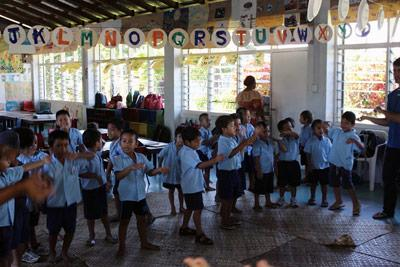 A group of school children at a Projects Abroad Care placment, All Saints Anglican Pre-school, in Apia, Samoa