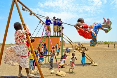 Children at the Projects Abroad pre-primary school in Kisongo near Arusha play during a break