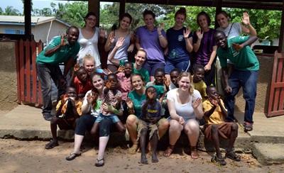Medicine volunteers at a school in Ghana