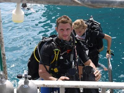Projects Abroad Diving & Marine Conservation volunteer about to take part on a dive in Thailand