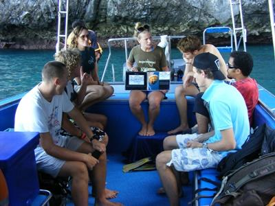 Projects Abroad Diving & Marine Conservation volunteers in Thailand receive a briefing on the boat before their dive