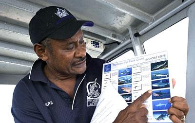 A volunteer doing research under water in Fiji