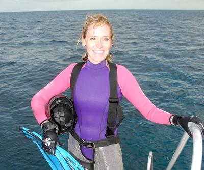 Ingrid getting ready to dive
