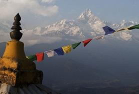 Tibetan flags at our volunteer Himalayan Mountain Conservation placement in Nepal.