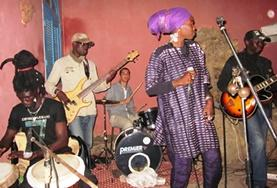 A local band in Senegal plays a set on stage at our volunteer Music & Culture placement.
