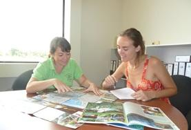 Two Journalism interns work together on compiling an article during their internship placement in Costa Rica.