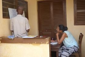 A volunteer in Togo learns French as part of her language course placement.