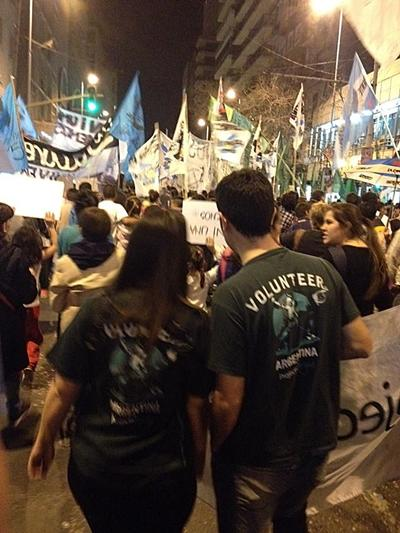 Projects Abroad Human Rights volunteers participate in march protesting violence against women in Cordoba, Argentina.