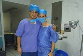 Nursing interns prepare to observe a surgical procedure performed by skilled local doctors in a hospital in Mexico.