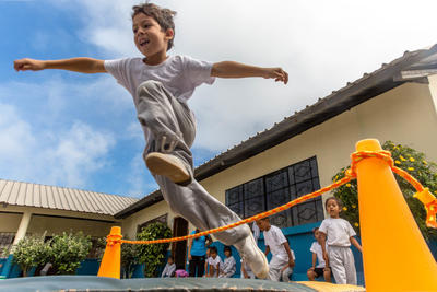 Children take part during a sporting activity