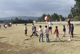 School Sports volunteers in Ethiopia coach local school children and help to improve their fitness.