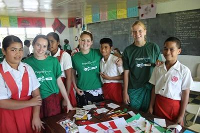 Projects Abroad volunteers with primary school children at a Teaching project overseas in Samoa