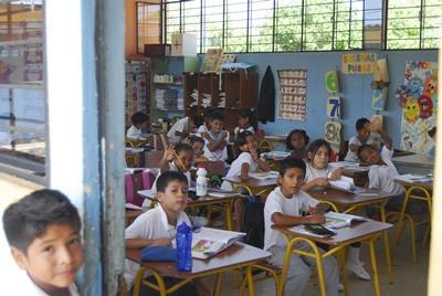 A colourful classroom at a school in Ecuador, Latin America.